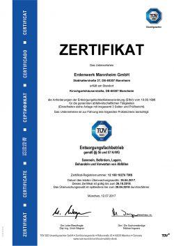 Zertifikat Entsorgungsfachbetrieb (TÜV Süd)